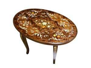 New 1980's Handmade Wood Marquetry Inlaid Floral Side End Coffee Oval Table