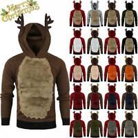Mens Christmas Hoodie Jumper Tops Xmas Hoodie Rudolph Reindeer Pullover Sweater