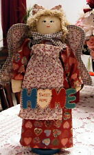 "Vintage 16"" Country Angel ""Home Sweet Home"" Wood Stand Hearts Fabric Rustic Euc"