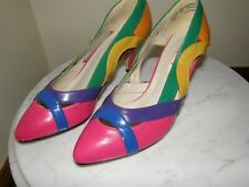 """3358) Vntg Women's """"Upstage"""" Shoes Size 5.5 Med Multi Color Purple Blue Green"""