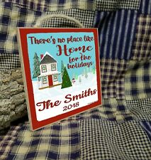 """Personalized No Place Like Home For The Holidays Christmas Sign Plaque 5""""x5"""""""
