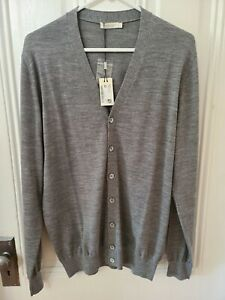 SuitSupply Gray Merino Wool Long Cardigan Size Large NEW w/TAG