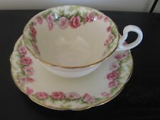 AYNSLEY RINGS OF PINK WILD ROSES TEACUP AND SAUCER
