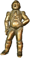 Vintage George Washington Brass Fireplace Andiron / Firedog