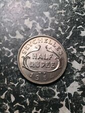 1954 Seychelles 1/2 Rupee (11 Available) High Grade! (1 Coin Only)