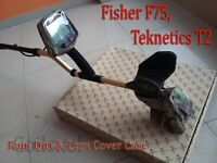 Fisher F75, Teknetics T2  Metal Detector Rain Dirt & Dust Cover Case 2pcs kit