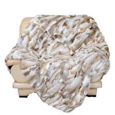 Luxury Rabbit Fur Throw 100% Real Rex Fur Warm Soft Bedspread / Blanket King
