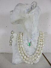 Set 1,6m largo barroco collar de perlas collar, anudados pulsera grandes perlas blancas