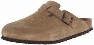 Birkenstock Womens Boston Closed Toe Mules, Taupe Suede, Size 9.0 XRNP