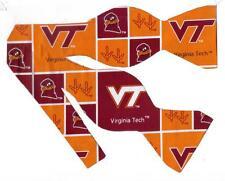 """(1) Virginia Tech Self-tie Bow tie with HokieBird & Tracks (Blocks) """"Hokies"""""""
