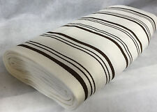 Original Vintage 1960s Cream with Brown Stripes Wool Mix Material Fabric Unused