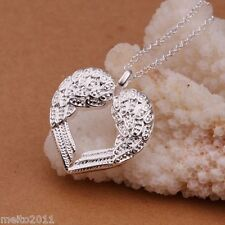 Angel Wing Hollow Heart Love 925 Silver Filled Charm Pendant Jewelry Necklace