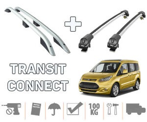 Ford Transit Connect / Tourneo LWB Roof Rails + Roof Rack Silver Full Set