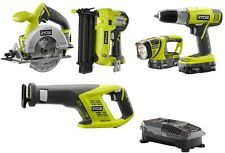 Ryobi ONE+ 18-Volt Lithium-Ion Cordless Green Combo Kit with Brad Nailer 5-Tool