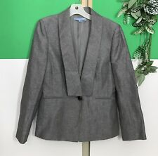 Womens Antonio Melani Linen Blend Blazer sz 8 Gray