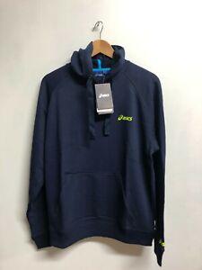 Asics Men's Sports Hoodie Long Sleeve Full Zip - Navy - New