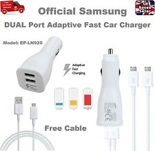 Genuine DUAL PORT Fast Car Charger for Samsung S7 S6 Edge NOTE 4 5 + USB Cable