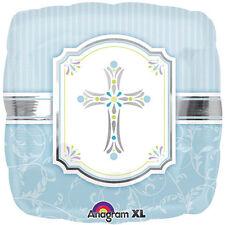 """Baptism or Communion Blessing Cross Blue Foil / Mylar Balloons 18"""" ( 2 Balloons)"""
