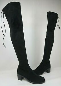 Stuart Weitzman Urban Over the Knee Black Suede Women's Boots Size 10.5 M