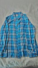 Dulth Trading Ladies Long Sleeve Flannel shirt 100% cotton Teal Plaid