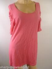 Mujer Rosa Rouche Con Mangas 100% Algodón Cuello Redondo Camiseta UK 14 UE 42