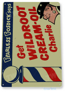 TIN SIGN Wildroot Cream-Oil Metal Décor Art Barber Pole Shop Store Farm A683