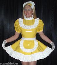 Deluxe volantes vestido de satén PVC Sissy bondage Maid transexuales massgefertigt szk041