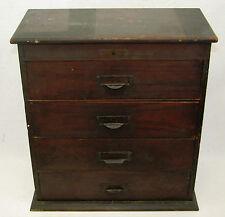 Antique 4 Drawer Swartchild Walnut Watchmaker Parts Jewelry Storage Cabinet