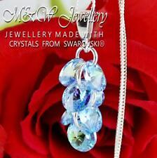 925 Silver Necklace Pendant Crystals From Swarovski® XILION RIVOLI Aquamarine AB