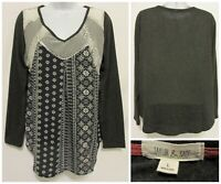 TAYLOR & SAGE Buckle Womens Large L Gray Ivory Lace V-Neck Long Sleeve Top Shirt