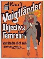 Voigtlander lentes de las cámaras Alemania Vintage Vintage Arte Cartel De Publicidad 1579PY