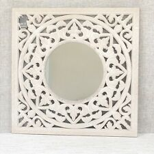 White Carved Mirror Square Wall Hanging Cream Wooden Resin