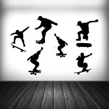 Skate boarders set of 6 vinyl decal stickers- wall art extreme sports teenager