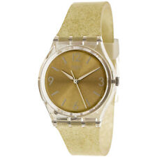 Swatch Women's Sunblush GE242C Gold Silicone Swiss Quartz Fashion Watch