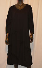 AVANT GARDE EUROPEAN JERSEY BALLOON HOLEY PULLOVER 3/4 SLEEVE DRESS BLK ONE SIZE