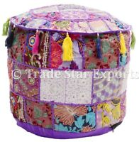 Indian Vintage Pouffe Cover Round Patchwork Ottoman Pouf Embroidery Bean Bag