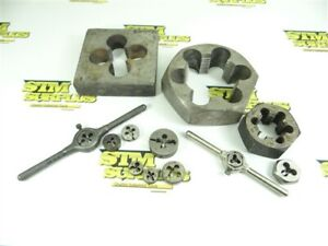 """LOT OF 12 ASSORTED THREADING DIES & WRENCHES #3-48 TO 2-1/2""""-8 GTD USA NY HANSON"""