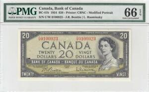 1954 BANK OF CANADA QEII $20 ~Beattie & Rasminsky~ **0100923** (( PMG 66 EPQ ))