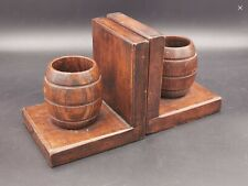 Antique Solid Oak Bookends / Pen Holder Pots