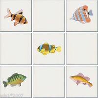 """25 x coulouful poissons tropicaux carrelage transferts autocollants hd imprimer 3/"""" chaque autocollant"""