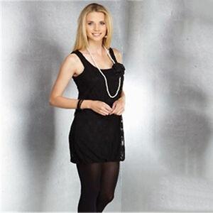 TG Lace Blouse Top + Free Pearl Set - Black - Size 10