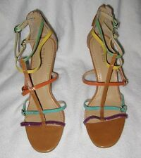 NINE WEST Muilticolored Strappy Sexy Tan Heels Sandals Shoes Womens Size 10 NEW