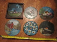 6 Hand Painted  7-8 inch Metal Saw Blades Farm, Cows, Lake, Signed