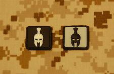 2 x Glow-In-The-Dark Spartan Helmet PVC Patches Navy SEAL Molon Abe Sparta Hook