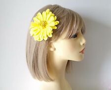 """Gorgeous bright yellow fabric flower hair clip - bobble - 4"""" - 10cm - * NEW *"""