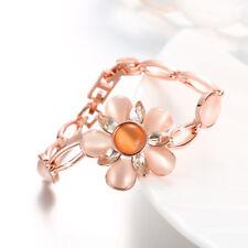 Elegant 18K Rose Gold Filled Cat's Eye Flower Bracelet Bangle