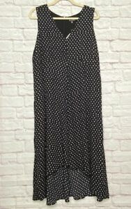 XL/16W New Rebel Wilson Black & White Mini Polka Dots Sleeveless Dress $129