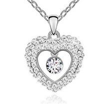 Fashion Womens Heart  Clear Crystal Rhinestone Silver Chain Pendant Necklace ——