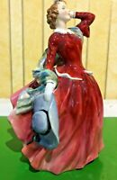 ROYAL DOULTON  FIGURE BLITHE MORNING HN 2065 RED & PINK DRESS  PERFECT