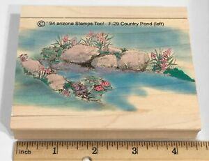 COUNTRY POND LEFT SCENERY Arizona Stamps Too Rubber Stamp